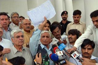 NWFP Minister Bashir Bilour with Swat Treaty Hasham Ahmed.